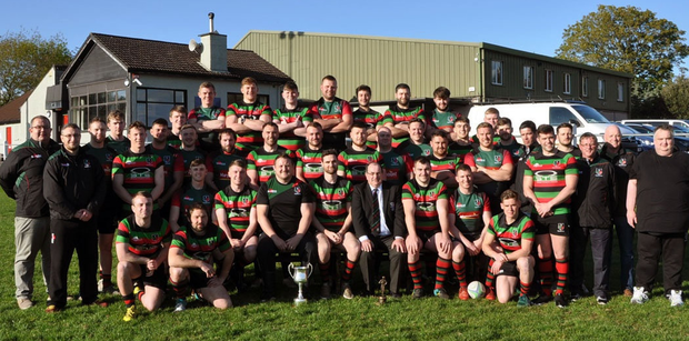 The Highfield senior squad who achieved promotion to Division 1B of the All-Ireland League