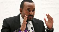 Ethiopia's Prime Minister Abiy Ahmed speaks at a news conference at his office in Addis Ababa, Ethiopia August 1, 2019. REUTERS/Tiksa Negeri/File Photo