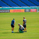 10 October 2019; Head coach Joe Schmidt, left, IRFU head of operations Ger Carmody and scrum coach Greg Feek, check the state of the pitch during the Ireland Captain's Run at the Fukuoka Hakatanomori Stadium in Fukuoka, Japan. Photo by Brendan Moran/Sportsfile