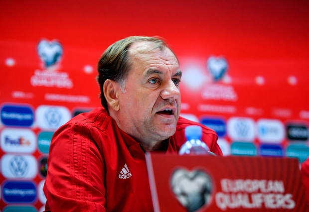 11 October 2019; Manager Vladimír Weiss speaking during a Georgia press conference at the Boris Paichadze Erovnuli Stadium in Tbilisi, Georgia. Photo by Seb Daly/Sportsfile