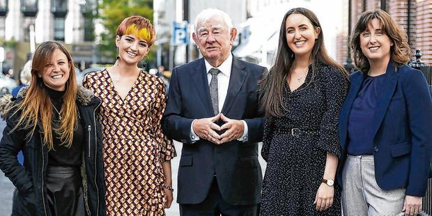 Winners (left to right) Julia Tereno; Sarah Gallagher; chairman of the Press Council Seán Donlon; overall winner Muireann Duffy and Janice Furphy. Photo: Photocall Ireland