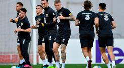 James McClean, centre, and Shane Duffy during a Republic of Ireland training session at the Boris Paichadze Erovnuli Stadium in Tbilisi