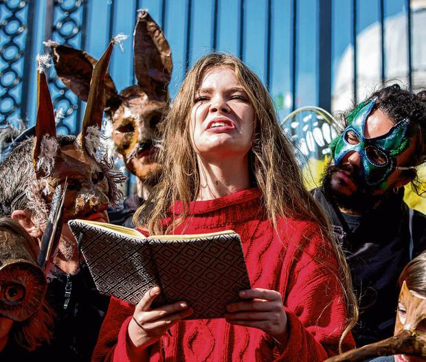 Rallying: Extinction Rebellion climate activists protest at Government Buildings. Photo: Liam McBurney/PA Wire