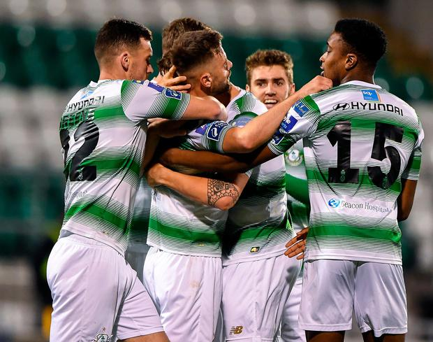 Greg Bolger of Shamrock Rovers celebrates scoring his side's first goal with team-mates