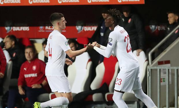 England's Tammy Abraham comes on as a substitute to replace Declan Rice