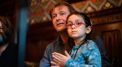 Reunited: Richard Ratcliffe with his daughter Gabriella (5) at a press conference in the Jubilee Room at the Houses of Parliament in London. Photo: Victoria Jones/PA Wire