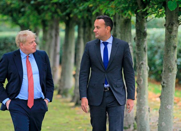 Meeting: British Prime Minister Boris Johnson with Taoiseach Leo Varadkar at Thornton Manor Hotel in Cheshire, UK. Photo: PA Wire