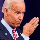 Insults: Joe Biden was targeted by Donald Trump in rally in Minneapolis. Photo by Robyn Beck / AFP