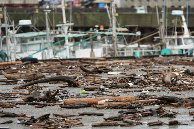 Sea wracks land at a port as Typhoon Hagibis approaches in town of Kiho, Mie prefecture, central Japan Saturday, Oct. 12, 2019. (AP Photo/Toru Hanai)