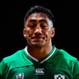 Bundee Aki of Ireland leaves the field after receiving a red card
