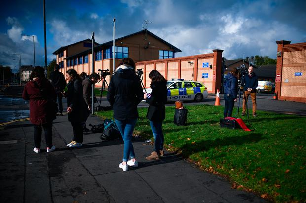 French media gather outside Helen Street police station, following reports of that a man, initially believed to be Xavier Dupont de Ligonnes, was arrested at Glasgow airport last night after arriving on a flight from Paris on October 12, 2019 in Glasgow, Scotland.(Photo by Jeff J Mitchell/Getty Images)