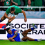 Jordan Larmour of Ireland scores his side's fifth try despite the tackle of Dwayne Polataivao of Samoa during the 2019 Rugby World Cup Pool A match between Ireland and Samoa at the Fukuoka Hakatanomori Stadium in Fukuoka, Japan. Photo by Brendan Moran/Sportsfile