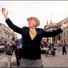 Ulick O'Connor protesting about The Spike in Dublin's O'Connell Street in 2001. Photo: Tony Gavin
