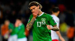 Jeff Hendrick of Republic of Ireland reacts after team-mate Aaron Connolly fails to convert a chance