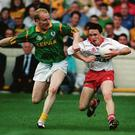 Battle Royale: Martin gets to grips with Brian Gormley of Tyrone during the All-Ireland SFC semi-final at Croke Park in August 1996. Photo: Brendan Moran / Sportsfile