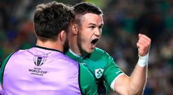 Out-half Jonathan Sexton celebrates after scoring Ireland's third try during the final Pool A game against Samoa. Photo: Adam Davy/PA Wire