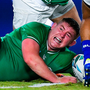 Tadhg Furlong scores Ireland's second try during Saturday's victory over Samoa at the Fukuoka Hakatanomori Stadium. Photo by Brendan Moran/Sportsfile