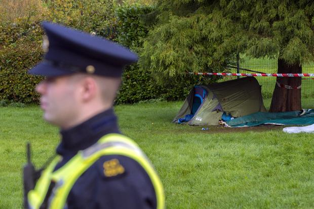 The burned tent close to where his body was                       found. Photo: Daragh Mc Sweeney/Provision
