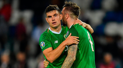John Egan (l) and Shane Duffy embrace after the game. Photo by Seb Daly/Sportsfile