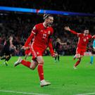 Wales' Gareth Bale celebrates scoring their equaliser in the Euro 2020 Group E qualifier against Croatia at the Cardiff City Stadium, Cardiff.