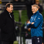New Zealand head coach Steve Hansen, left, and Ireland head coach Joe Schmidt. Photo by Ramsey Cardy/Sportsfile
