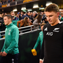 Beauden Barrett of New Zealand walks out alongside Jonathan Sexton of Ireland, left, prior to the Guinness Series International match between Ireland and New Zealand at Aviva Stadium, Dublin. Photo by Brendan Moran/Sportsfile