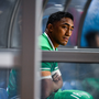 Bundee Aki of Ireland sits on the bench after being shown a red card during the 2019 Rugby World Cup Pool A match between Ireland and Samoa at the Fukuoka Hakatanomori Stadium in Fukuoka, Japan. Photo by Brendan Moran/Sportsfile