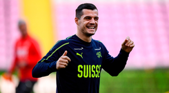 Granit Xhaka is pictured during a Switzerland training session at Stade de Genève in Geneva, Switzerland. Photo by Stephen McCarthy/Sportsfile
