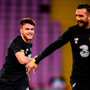 Aaron Connolly, left, and Shane Duffy during an Ireland training session at Stade de Genève in Geneva, Switzerland. Photo: Stephen McCarthy/Sportsfile