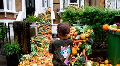 Wasteful: A London home shows the huge amount of food binned by 14 households over the course of just one year. Photo: Jonathan Hordle/PA Wire