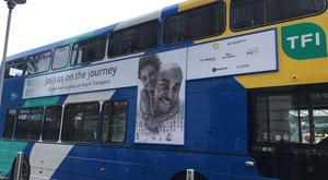 A bus advertising an anti-racism campaign. Photo: PA Wire