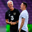 Mick McCarthy in relaxed mood with his assistant Robbie Keane at Stade de Genève last night. Photo: Sportsfile