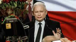 Toasting vote success: Jaroslaw Kaczynski, leader of the governing, right-wing Law and Justice party. Photo: Carsten Koall/Getty Images