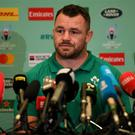 Cian Healy during an Ireland Rugby press conference in the Hilton Tokyo Bay Hotel in Urayasu, Chiba, Japan. Photo by Ramsey Cardy/Sportsfile