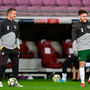 Ireland assistant coach Robbie Keane and Aaron Connolly prior to the Euro 2020 qualifier against Switzerland in Geneva, Switzerland. Photo: Seb Daly/Sportsfile