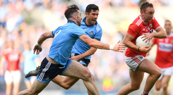 Breaking away: Cork's Paul Kerrigan skips past challenges from Michael Darragh Macauley and Cian O'Sullivan of Dublin in last July's Super 8s clash. Photo: Sportsfile
