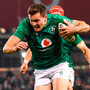 Jacob Stockdale scores the crucial try against New Zealand in 2018, but Ireland's form has eroded since that historic victory. Photo: Sportsfile