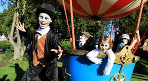 Halloween high jinks: Nathan McCabe (9), Eric Moore (7), Fiadh Mae Walsh (7) and Sienna Castro Darcy (7) at St Patrick's Park, Dublin. Photo: Julien Behal