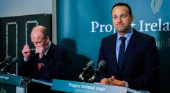 Future hopes: Taoiseach Leo Varadkar at a press briefing yesterday – but he has more immediate concerns. Photo: Gareth Chaney, Collins
