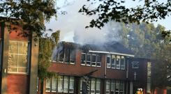 Blaze broke out at Scoil Chaitriona on Mask Avenue in Artane at around 6am (Photo: Gerry Mooney)