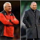 Warren Gatland (left), Eddie Jones (centre) and Rassie Erasmus (right).