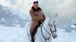 Symbolic: Kim Jong-un on horseback on Mount Paektu in North Korea. Photo: AP