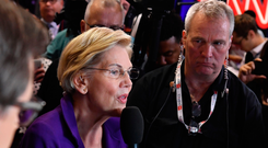 Momentum: Elizabeth Warren is the new front-runner for the Democratic nomination. Photo: Getty Images
