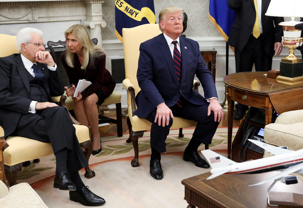Criticised: Donald Trump in the White House yesterday during a visit from Italy's President Sergio Mattarella. Photo: Reuters