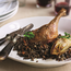 Roasted duck-legs with red wine lentils