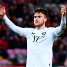 Aaron Connolly, in action for Ireland during Tuesday night's Euro 2020 qualifying defeat to Switzerland. Photo: Stephen McCarthy/Sportsfile
