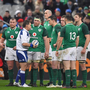 Referee Nigel Owens speaks to Jonathan Sexton in the NatWest Six Nations Rugby Championship match between France and Ireland at the Stade de France in Paris last year. Photo: Brendan Moran/Sportsfile