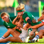 Rough and tumble: Irish and USA players take part in an international match. Photo: Sportsfile