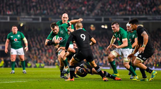 Rugby Cian Healy of Ireland is tackled by Ryan Crotty of New Zealand at the Aviva the lasdt time the teams met