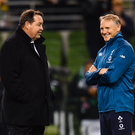 All Blacks' coach Steve Hansen and Ireland coach Joe Schmidt. Photo: Ramsey Cardy/Sportsfile